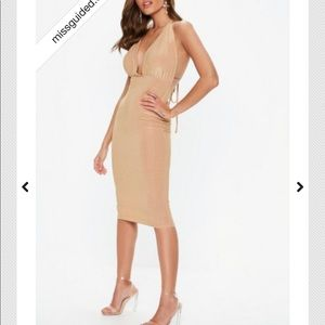 MISSGUIDED gold glitter wrap midi dress
